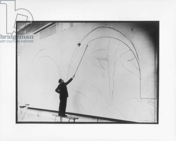 Henri Matisse (1869-1954) Drawing with a Bamboo Stick, 1931 (b/w photo)