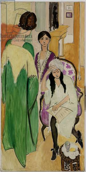 The Three Sisters with a Sculpture, left panel from The Three Sisters Triptych, 1917 (oil on canvas)