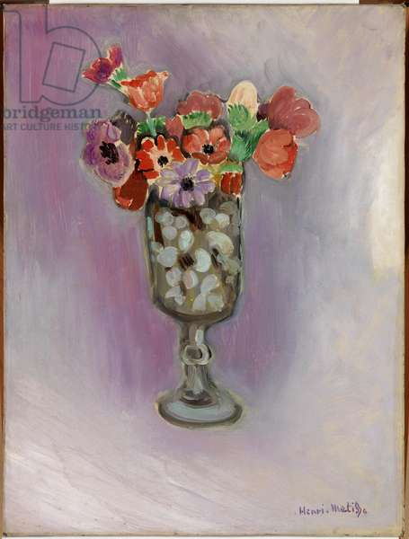 Anemones in a Glass Vase, 1919 (oil on canvas)
