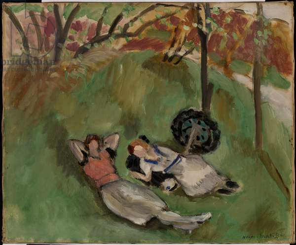 Two Figures Reclining in a Landscape, 1921 (oil on canvas)