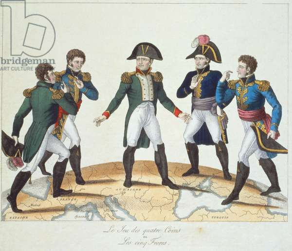 'Le Jeu des Quatre Coins ou Les Cinq Freres', Bonapartiste cartoon depicting Napoleon and his brothers, 1808 (coloured engraving)