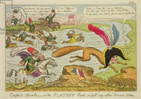 'Cossack Sports or the Platoff Hunt in Full Cry after French Game' by William Elmes, published 9 November 1813