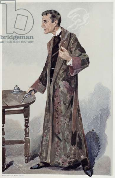 """Sherlock Holmes, Cartoon from """"Vanity Fair"""" of the Actor William Gillette, 1907 (colour litho)"""