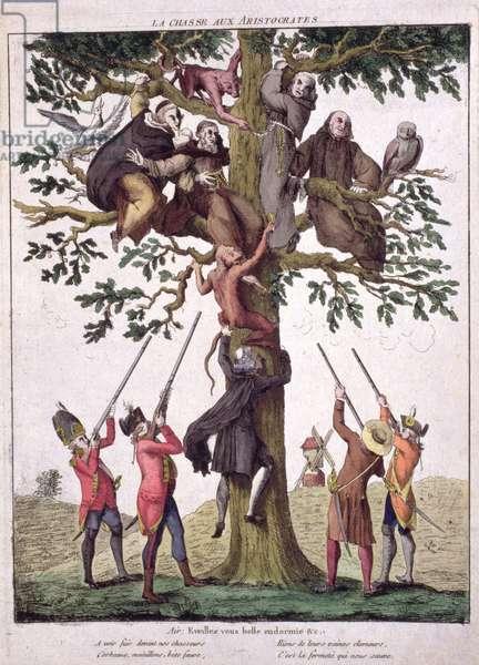 'La Chasse aux Aristocrates', Anti-Royalist caricature, c.1792 (coloured engraving)