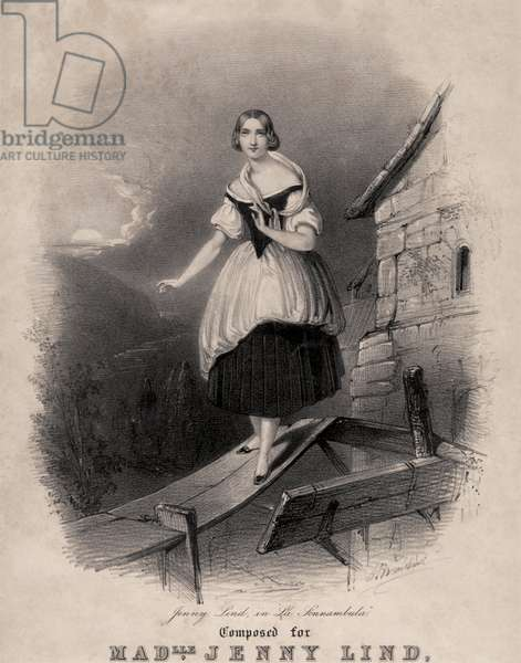 Jenny Lind, Swedish soprano, in the sleepwalking scene of Bellini 's La sonnambula