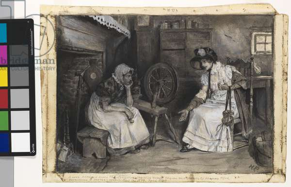 A Love Affair in Olden Time: Consulting the Wise Woman, c.1879 (ink wash and gouache on paper)