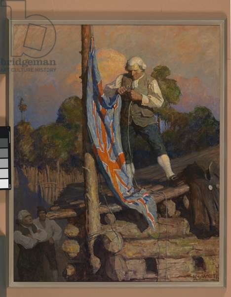 Then, climbing on the roof, he had with his own hand bent and run up the colors, 1911 (oil on canvas)