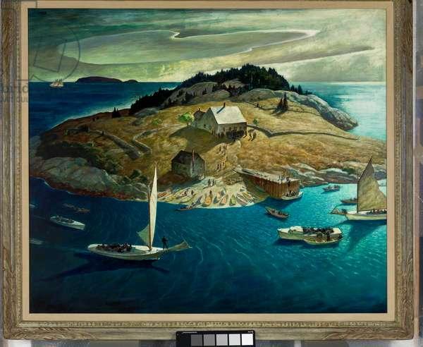 Island Funeral, 1939 (egg tempera and oil on hardboard)