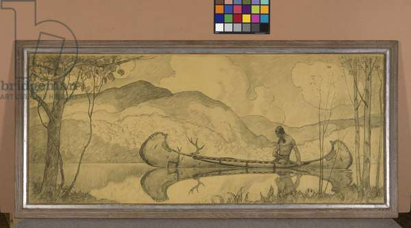 Title unknown (study of Indian in a canoe) (charcoal on paper)