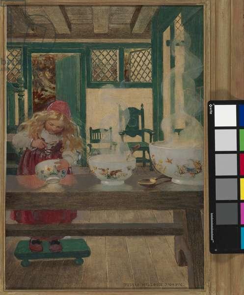 Goldilocks and the Three Bowls, c.1900 (mixed media on illustration board)