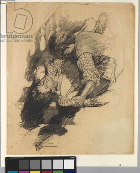 It was the battle of hungry brutes, 1907 (charcoal on illustration board)