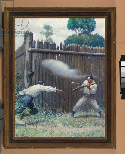 Captain Harding slays a convict, 1918 (oil on canvas)