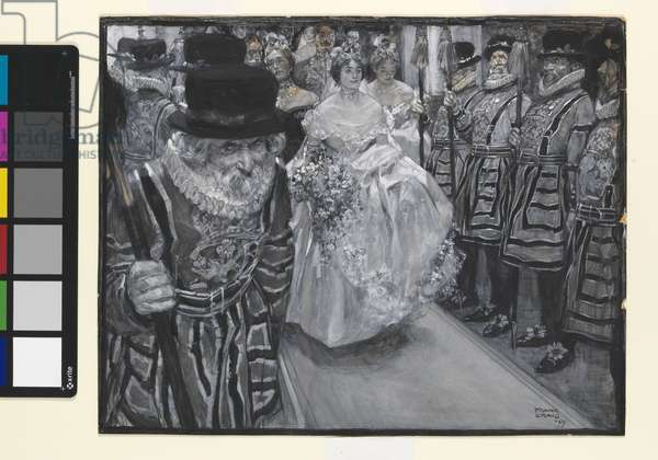 At the Queen's Drawing Room, 1899 (gouache on paper mounted on board)