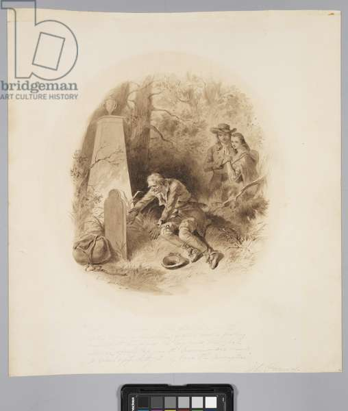 The Hunter Himself Was Stretched on the Earth, before a Head-Stone of White Marble, Pushing Aside with His Fingers the Long Grass, c.1859 (sepia ink and wash on paper)