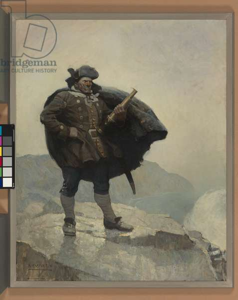 All day he hung round the cove, or upon the cliffs, with a brass telescope, 1911 (oil on canvas)