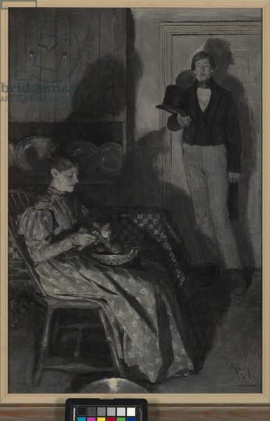 Zekle and Huldy, c.1904 (oil on canvas in grisaille)