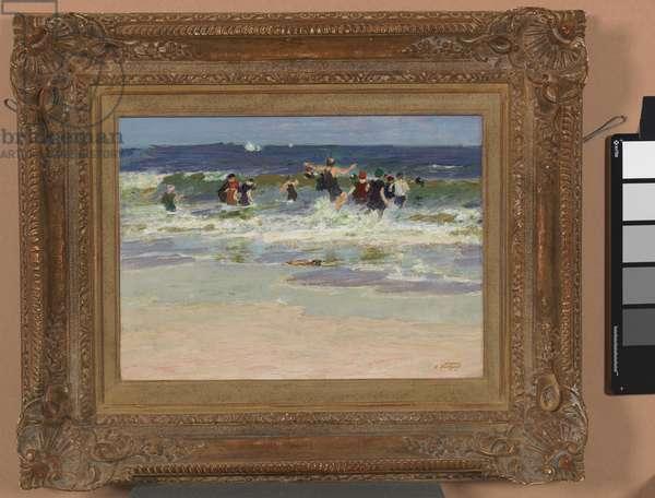 Beach Scene, Coney Island, 1915-1918 (oil on wood panel)
