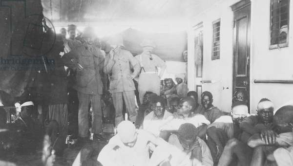 African prisoners of war on a British ship, 1914 (b/w photo) [1995/076/7/2/14]