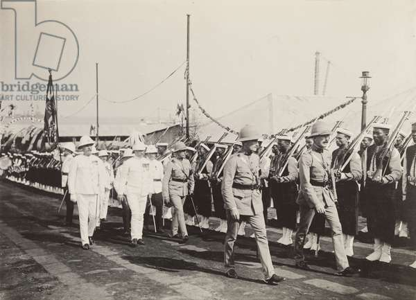 Inspection of the British South Africa Police, 1910 (b/w photo) [1995/076/1/4/1/101]