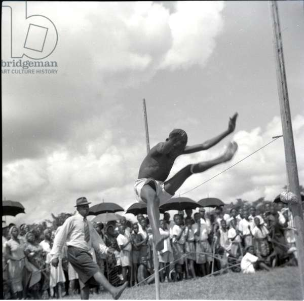 Empire Day sports, Jumping, May 1954 (b/w photo) [2012/001/6/7/AM4]