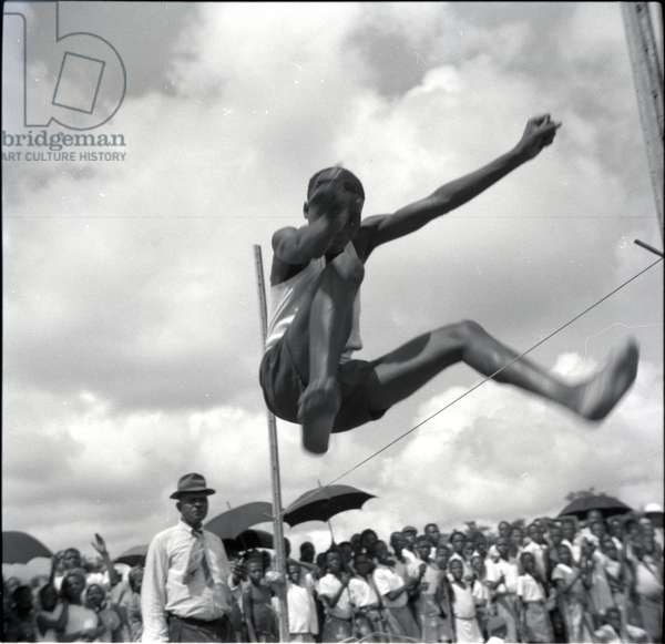 Empire Day sports, Jumping, May 1954 (b/w photo) [2012/001/6/7/AM5]
