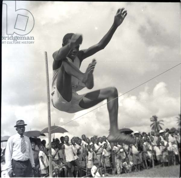 Empire Day sports, Jumping, May 1954 (b/w photo) [2012/001/6/7/AM6]