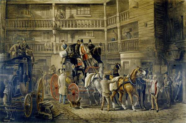 The Olden Time, from 'Fores Coaching Recollections', engraved by J. Harris (colour litho)