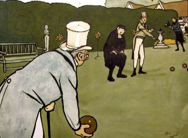Old English Sports and Pastimes; Bowls (litho)