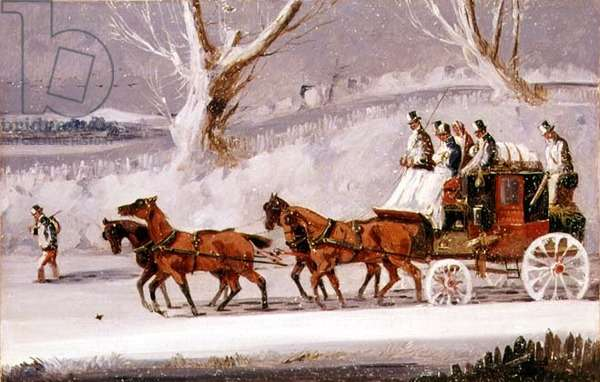The Royal Mail in a Snow Storm (oil on panel)