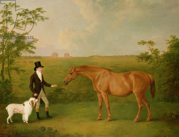 A Gentleman with a White Dog and a Chestnut Mare in a Landscape (oil on canvas)