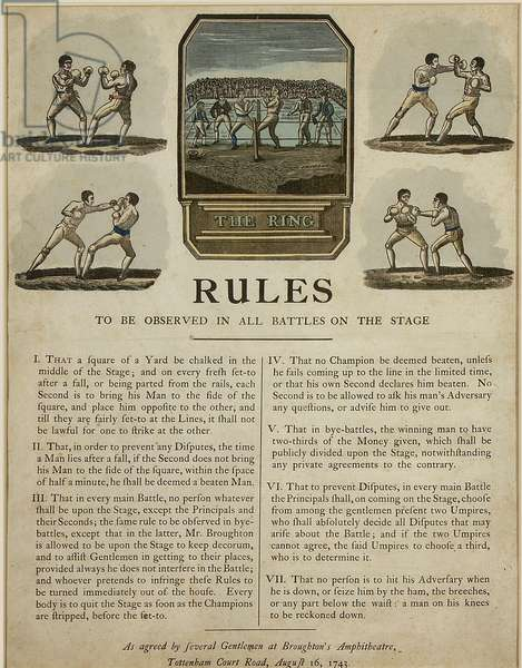 The Ring, Rules (coloured engraving)
