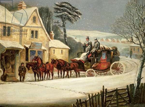 Winter Scene with the Royal Mail Halted at an Inn (oil on panel)