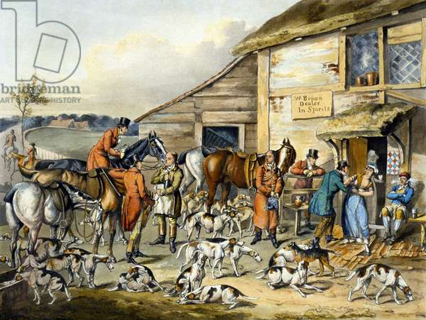 The Refreshment, from 'Foxhunting', engraved by Thomas Sutherland (1785-1838) (colour litho)