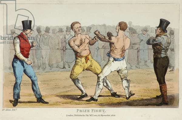 Prize Fight (coloured etching)