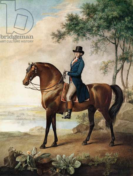 Warren Hastings Esq. on his Arabian Horse, after a painting by George Stubbs, 1796 (1724-1806) (w/c on paper)