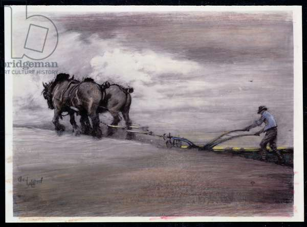 Ploughing (pencil and pastel on ivorine)