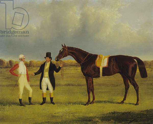 'Euclid' with his Jockey Conolly and Trainer Pettit (oil on canvas)