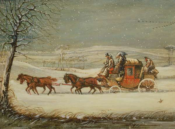 The Royal Mail in Winter (oil on panel)