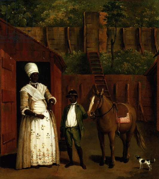 A Negro Mother and Son with a Pony outside a Stable (oil on canvas)