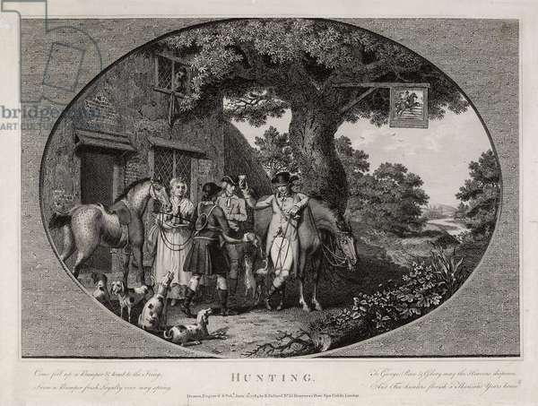 Hunting, engraved by Robert Pollard (1755-1838), 1784 (litho)