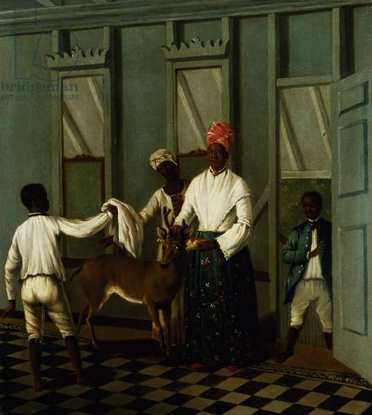 Negro Servants Washing a Deer (oil on canvas)