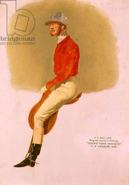 Portrait sketch of P.P. Rolt Esq. for 'Steeple Chase Cracks', 1846 (gouache on paper)