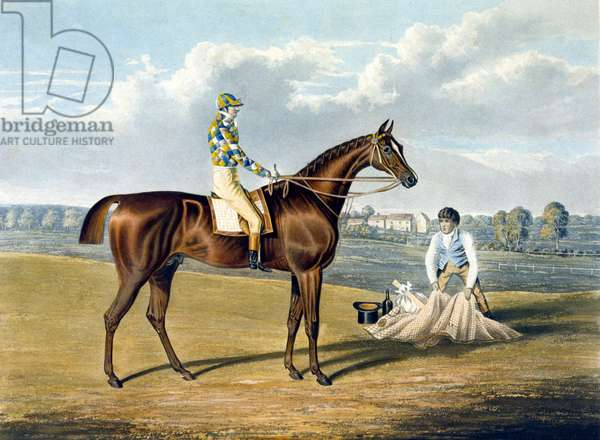 'Barefoot', Winner of the St Leger, engraved by Thomas Sutherland (1785-1838), 1823 (colour litho)