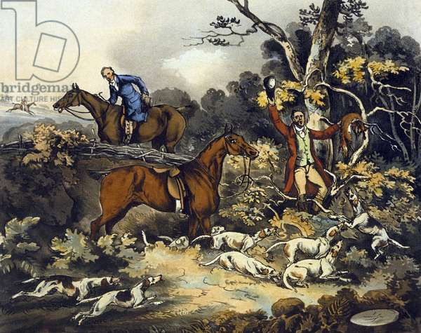 The Death, from 'Fox Hunting', engraved by Thomas Sutherland (1785-1838) 1817 (colour litho)