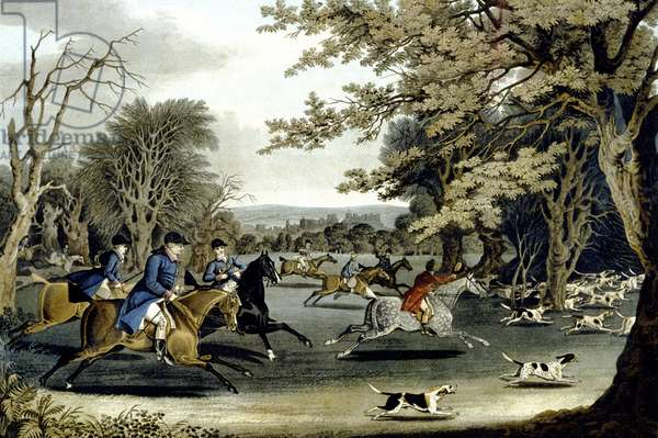 Royal Hunt in Windsor Park, engraved by Matthew Dubourg (fl.1813-20) 1829 (colour litho)