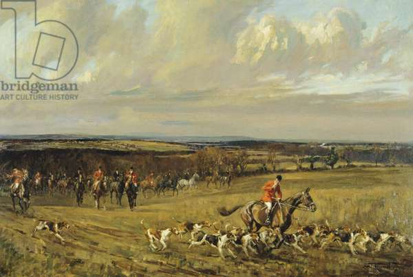 Crawley and Horsham Hunt, Going to a Halloa Near Partridge Green, 1933 (oil on canvas)