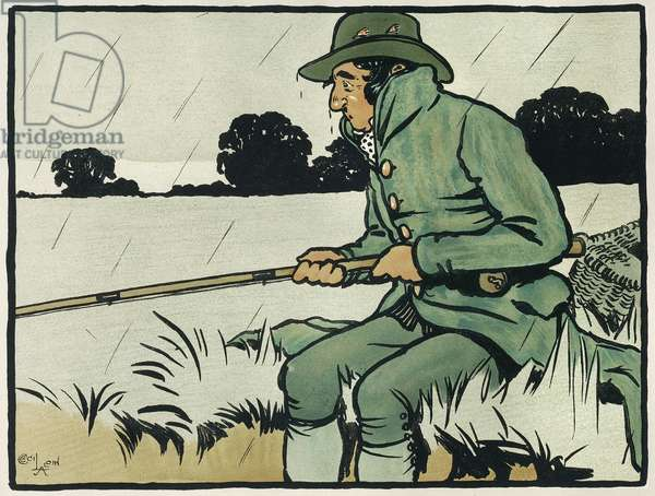 Old English Sports and Games: Angling, 1901 (colour litho)