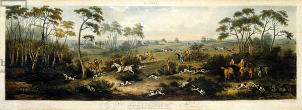 Foxhunting, plate 1, engraved by Thomas Sutherland (1785-1838) 1817 (colour litho)