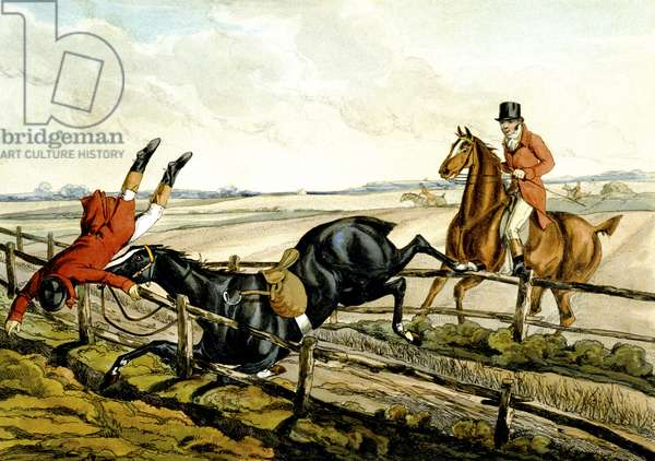Misjudging the Jump, plate from 'Qualified Horses and Unqualified Riders', 1815 (colour engraving)
