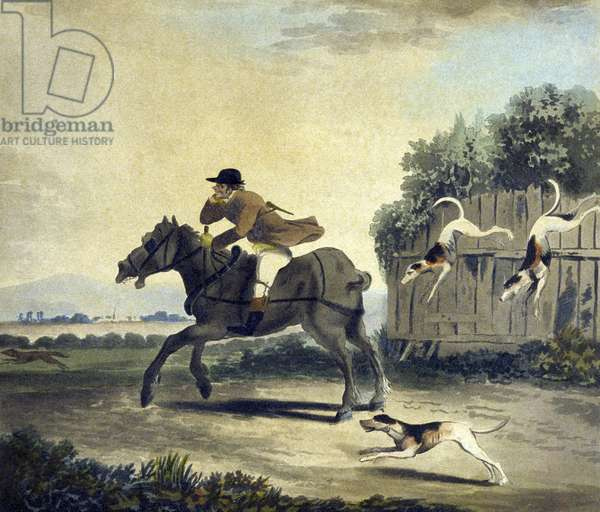 The Fore Horse of the Team, from The Pytchley Hunt, engraved by F.Dukes (1745-1812), 1790 (colour litho)